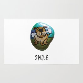 Smile Rock Cute Puppy with Bone Rock Painting by annmariescreations Rug