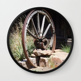 road trip, wagon wheel, old west, history Wall Clock