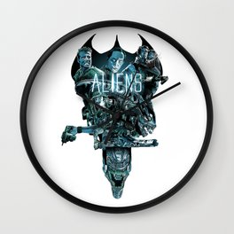 Aliens Illustration Tribute Wall Clock