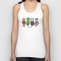 super heroes Tank Tops featuring Super Cute Heroes: Avengers! by Kayla Dolby