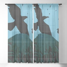Sacred Gothic Text Gravestone With Crows and Ravens Sheer Curtain