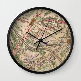 Vintage Map of The Battle of Chantilly (1865) Wall Clock