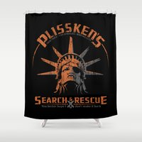 discount Shower Curtains featuring Snake Plissken's Search & Rescue Pty. Ltd. by 6amcrisis