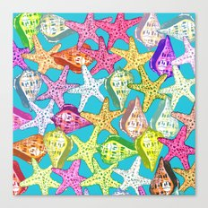 Seashells and sea stars Canvas Print