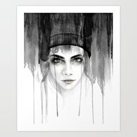 cara Art Prints featuring Cara by Erin Marie Illustration