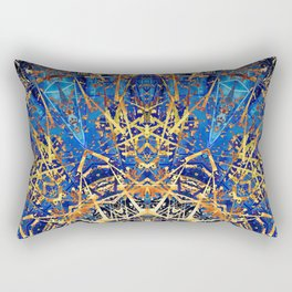 Bohemian Bright Blue and Gold Mandala Rectangular Pillow