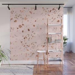 Rose Gold Pink Terrazzo Wall Mural