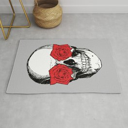 Skull and Roses | Skull and Flowers | Vintage Skull | Grey and Red | Rug