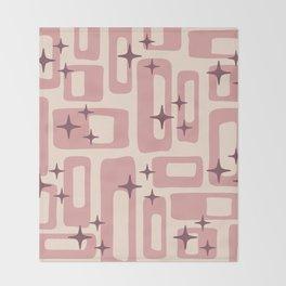 Retro Mid Century Modern Abstract Pattern 577 Dusty Rose Throw Blanket