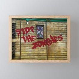 Stop the Zombies!!! Framed Mini Art Print