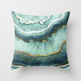 Gold Turquoise Agate Throw Pillow