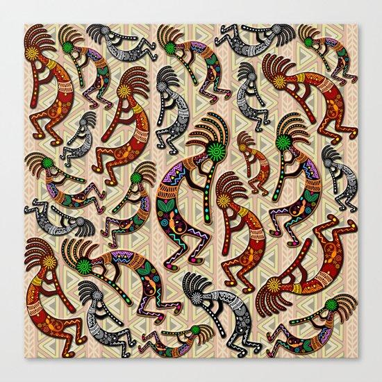 Kokopelli Rainbow Colors On Tribal Pattern Canvas Print By Bluedarkatlem Society6