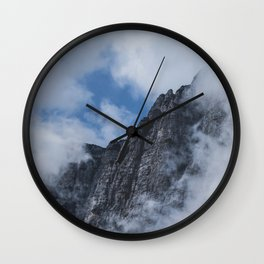 Mountain through Clouds // Landscape Photography Wall Clock