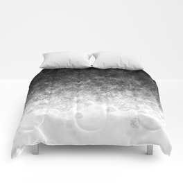 Disappearing Fog - Black and White Gradient Comforters