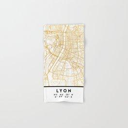 LYON FRANCE CITY STREET MAP ART Hand & Bath Towel