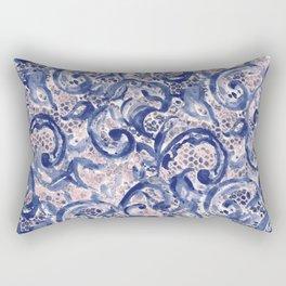Vinage Lace Watercolor Blue Blush Rectangular Pillow