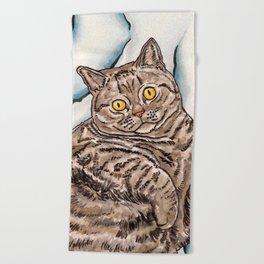 Grey Cat Beach Towel