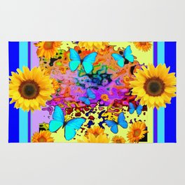 Blue Design Sunflower Butterflies Dream Rug