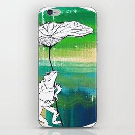Frog with Lotus Umbrella iPhone Skin
