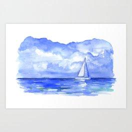 Sailboat on the Ocean Watercolor Art Print