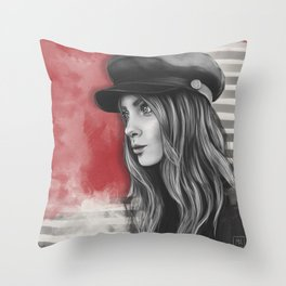 Parisian girl. Portrait Throw Pillow