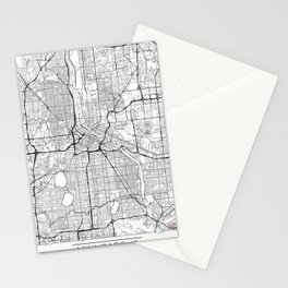 Minneapolis Map White Stationery Cards