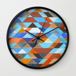 Triangle Pattern no.18 blue and orange Wall Clock