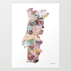 Portugal map -  portrait Art Print