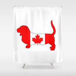 "Basset Hound ""Canada"" Shower Curtain"