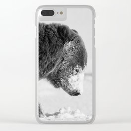 Alaskan Grizzly Bear in Snow, B & W - I Clear iPhone Case