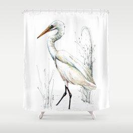 Mr Kotuku , New Zealand White Heron Shower Curtain