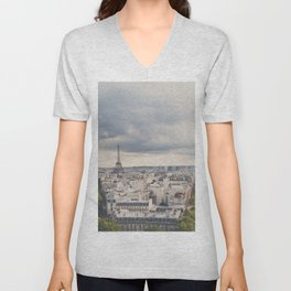 the Eiffel Tower in Paris on a stormy day. Unisex V-Neck