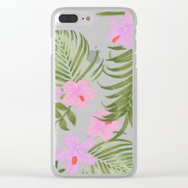 Modern pink green palm tree tropical floral Clear iPhone Case