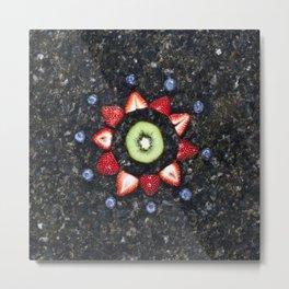 Fruitful Flowers - kiwi Metal Print