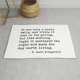It was only a sunny smile - Fitzgerald quote Rug