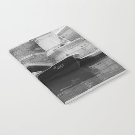 the boats sit quietly in the Venice Canals; black and white photography Notebook