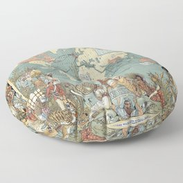 Vintage British Empire World Map (1886) Floor Pillow