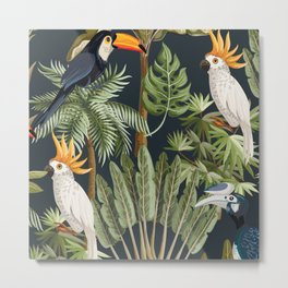 Exotic Bird & Leaf Pattern Metal Print