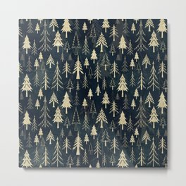 Christmas tree forest in gold Metal Print