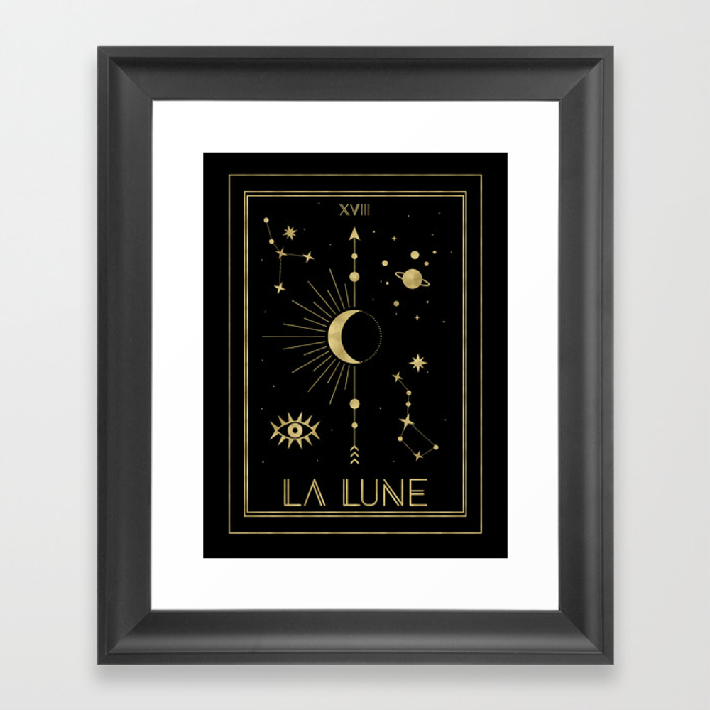 The Moon Or La Lune Gold Edition Framed Art Print by Cafelab