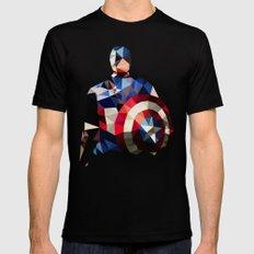 Polygon Heroes - Captain America MEDIUM Black Mens Fitted Tee