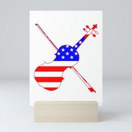 Stars And Stripes Fiddle Silhouette Mini Art Print