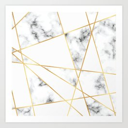 Stone Effects White and Gray Marble with Gold Accents Art Print