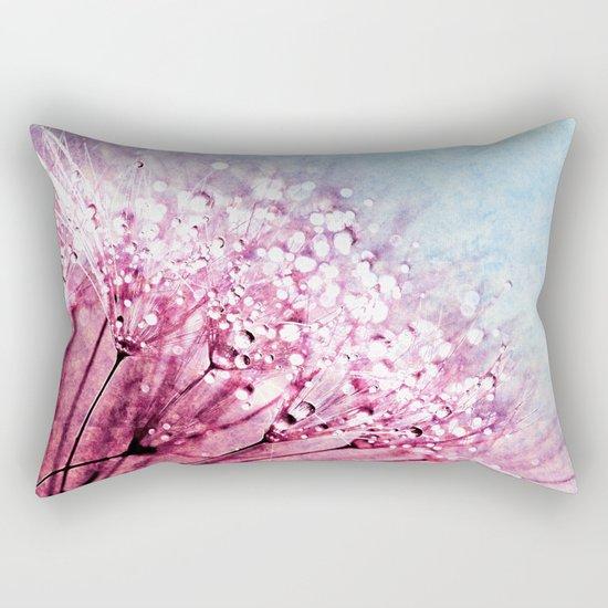Mauve Lavender Blue Dandelion Dew Flowers Rectangular Pillow