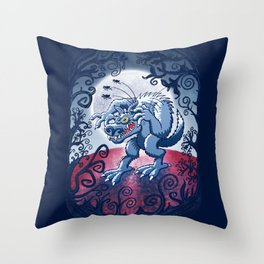 Werewolf Scratching Spooky Fleas Throw Pillow