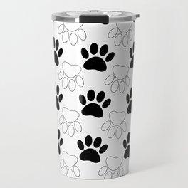 Black And White Dog Paw Print Pattern Travel Mug