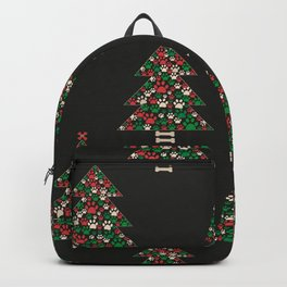 Made of paw print Christmas tree. Christmas and Happy new year seamless fabric design pattern background Backpack