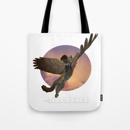 Wildskies comic art winged cat and rider in flight Tote Bag