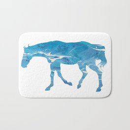 Light Blue Marble Thoroughbred Horse Silhouette Bath Mat