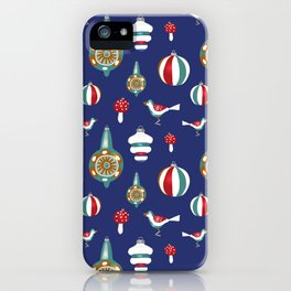 Retro Christmas Ornaments Wrapping Paper iPhone Case